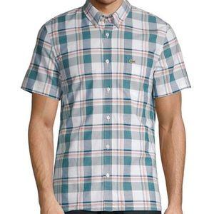 Lacoste Slim fit plaid button down shirt